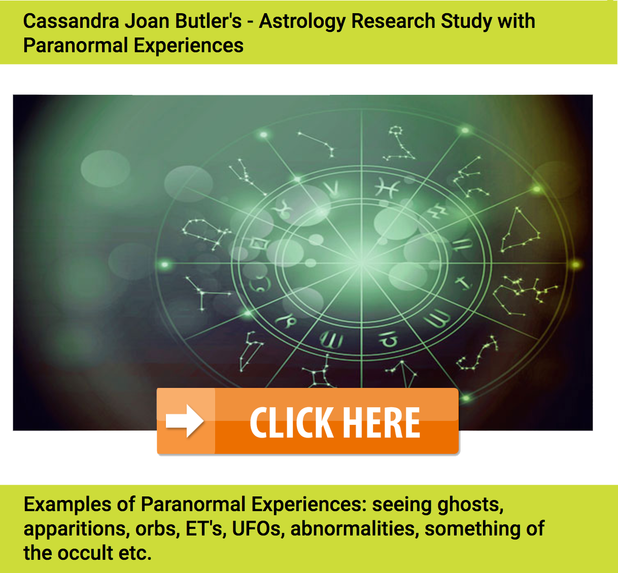 Astrology Research Dates of Paranormal Encounters by Cassandra Joan Butler